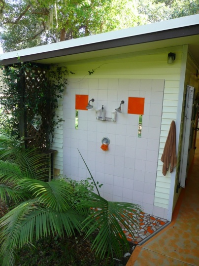 The dual-head outdoor shower at our house -- a delightful way to rinse off in the sunshine after doing yard work!