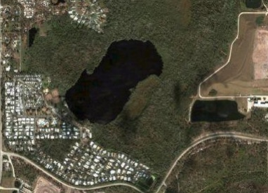 Satellite view of some of the area of Cypress Cove Nudist Resort & Spa in Kissimmee, FL. The resort covers 280 acres, including 50-acre Brown Lake (pictured), of which only 120 acres have been developed. Cypress Cove was founded in 1964, long before Disney or anyone else had ever heard of Orlando, FL.