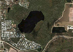 Satellite view of some of the area of Cypress Cove Nudist Resort & Spa in Kissimmee, FL. The resort covers 280 acres, including 50-acre Brown Lake...