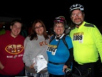 Midnight Madness Bike Ride in San Diego, 8 15 09  (L-R) daughter-in-law Brenda (4 months prego), daughter Cherie, me, DH Keith (neon man)