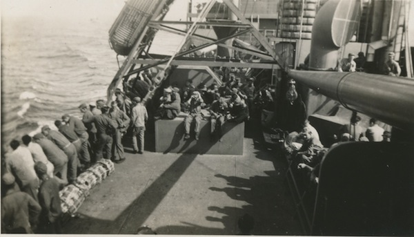 At sea, returning home on the Wheaton Victory.