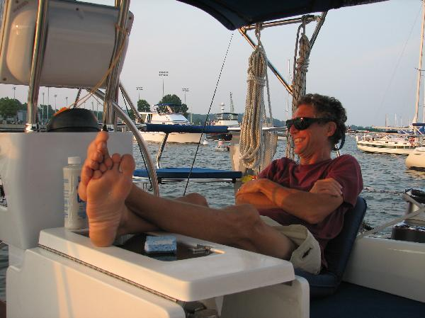 Annapolis harbor. Moi looking very happy in relaxed in in the cockpit.