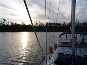 Sunset at the Ingram Bayou anchorage in the Florida panhandle.
