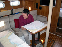 My SO charting our course, getting ready to enter waypoints into the auto-pilot.