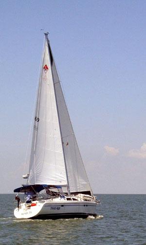 Third Age under full sail in Galveston Bay.