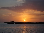 Sunset off Cambridge Cay in the Bahamas.