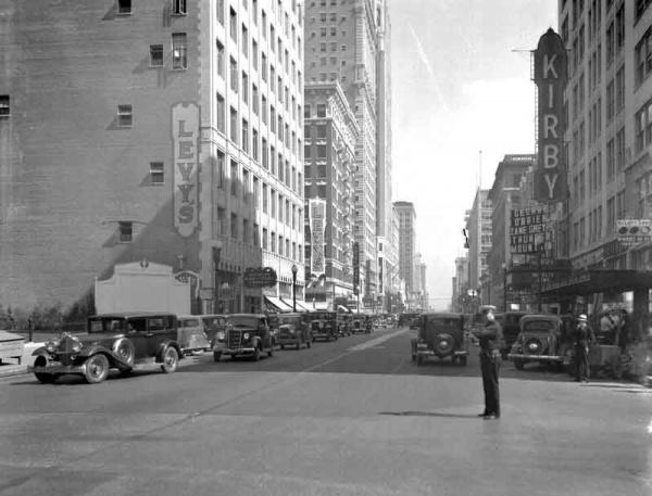 Directing traffic on Main at McKinney - Circa 1930