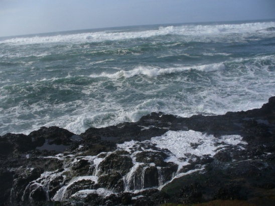 """The """"beach""""!  All rock and pounded hard by the waves...don't go down there!"""